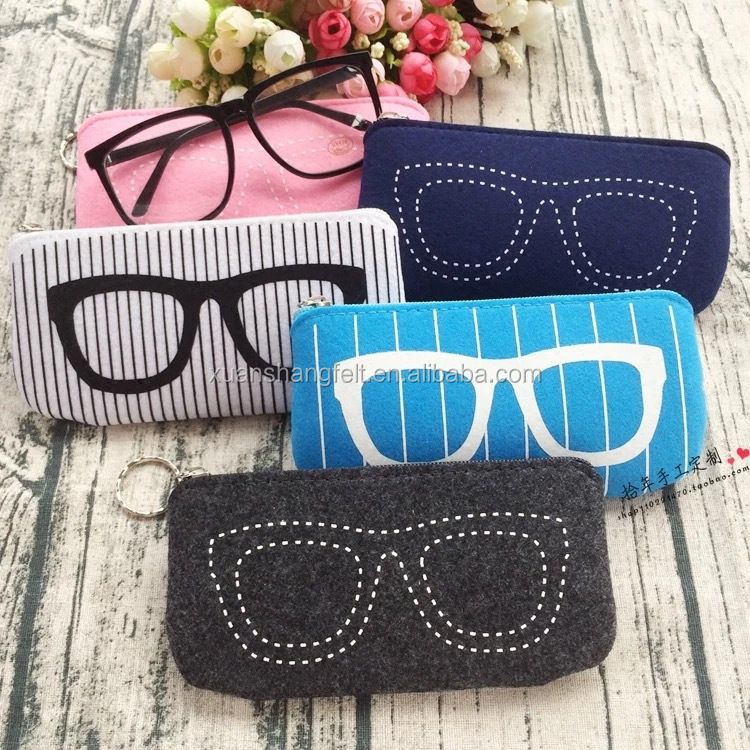 Colorful and cute felt eyeglasses case wholesale