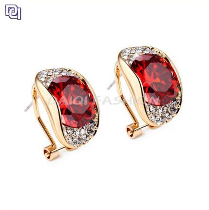 Red Stone Gold Earring High End Dubai Gold Jewelry Earring Ladies' Earring Jewelry