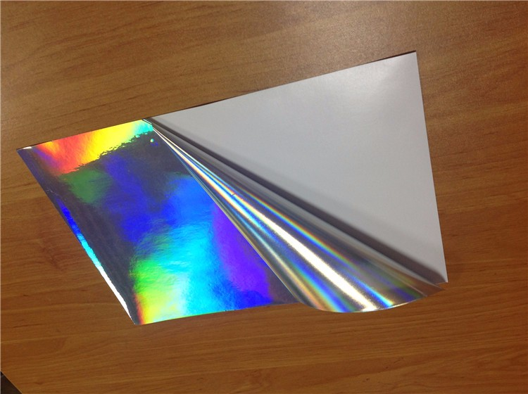 High quality Customized logo Holographic pattern Sticker waterproof film self adhesive film