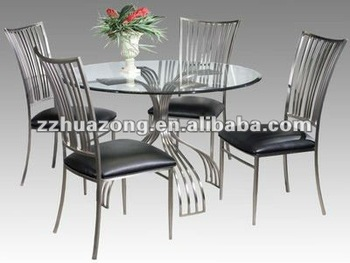 Ashley Round Glass Top Steel Dining Table and Dining Chairs : metal dining chairs - amorenlinea.org