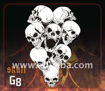 Airbrush Stencil Group Of Skulls G8