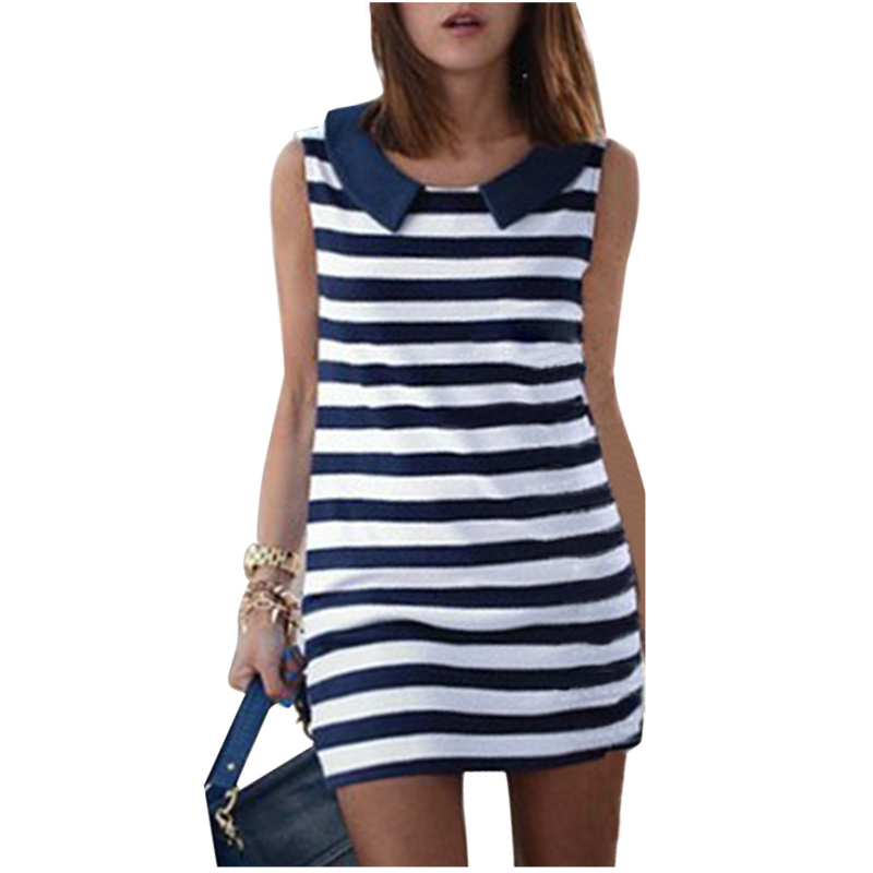 Brand New 2015 Summer Women Denim Sailor Collar Sleeveless Striped Jeans Dress Ladies Blouses Tops Casual Dress Women Clothing