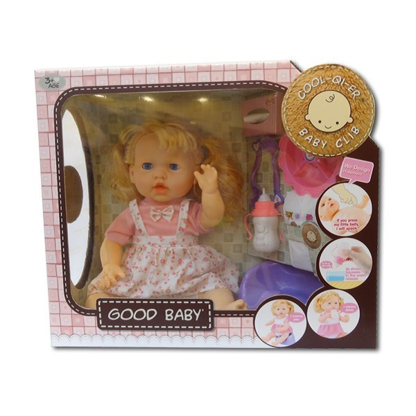 "Good baby dolls with music 18"" girl pee doll toy set"