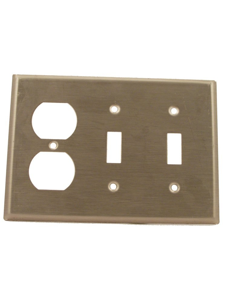 Leviton 84021-40 3-Gang 2-Toggle 1-Duplex Device Combination Wallplate, Standard Size, Device Mount, Stainless Steel