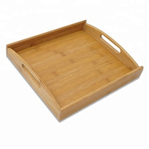 Bamboo Serving Tray With Cut Out Handles Breakfast Bed plate decorative storage Butler tray