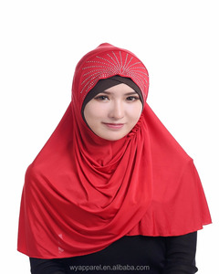 Malaysia latest fashion design viscose fiber material muslim hijab easy wear instant hijab shawl with crystal rhinestone.