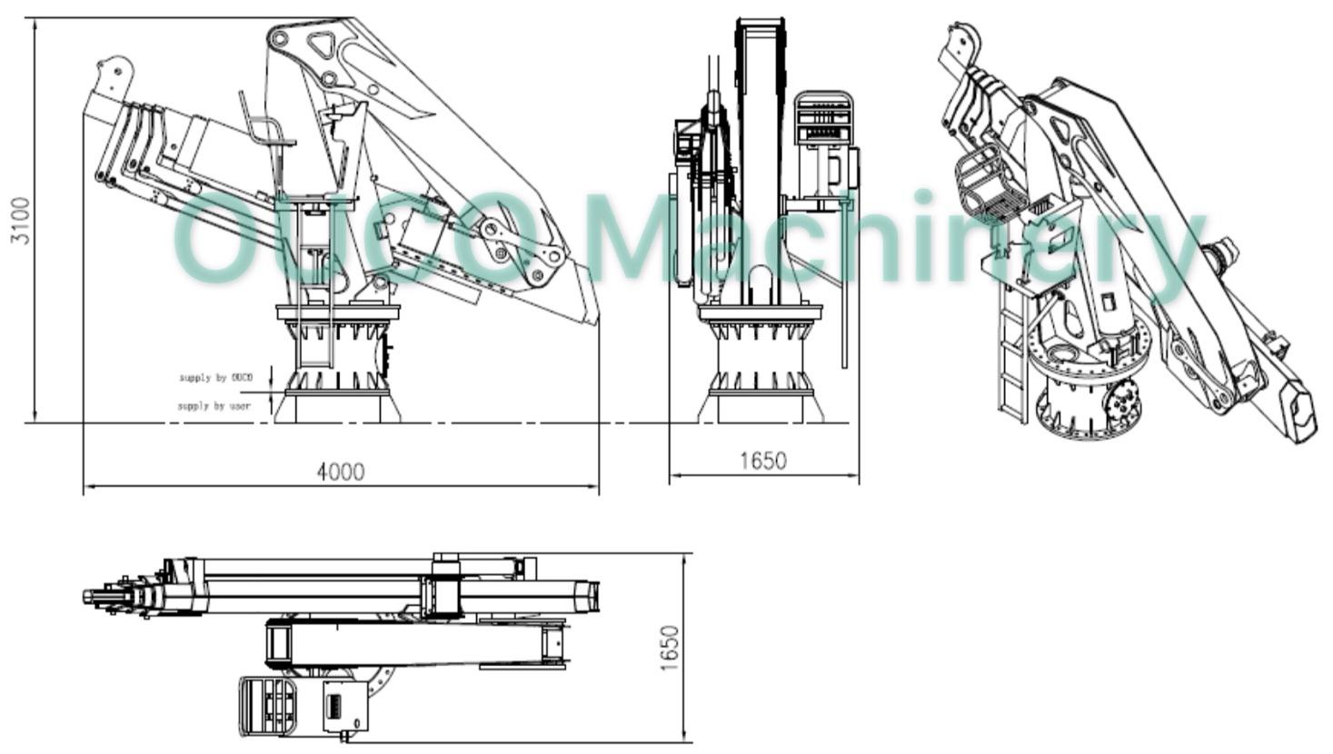 OUCO Marine/2.5t22m folding boom crane