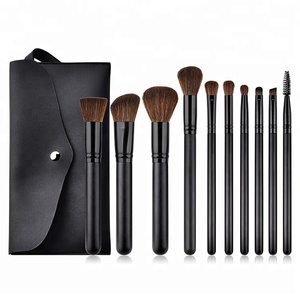beauty & personal care 10pcs black mascara angle big luxury wood travel size makeup power brush set pouch bag packaging brushes