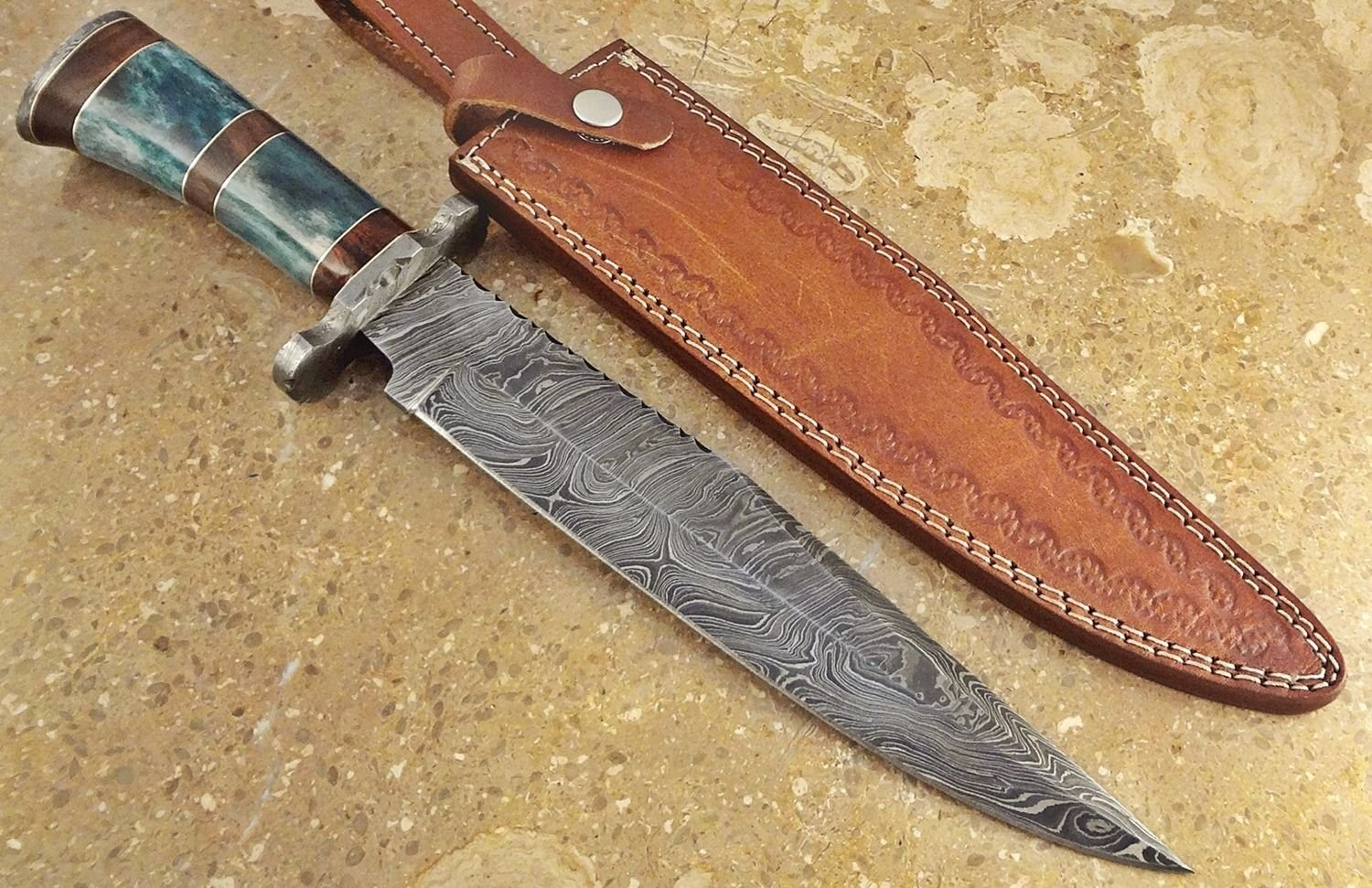 ColdLand Knives | One-of-a-Kind 15'' Custom Handmade Damascus Steel Bowie Hunting Knife HH04