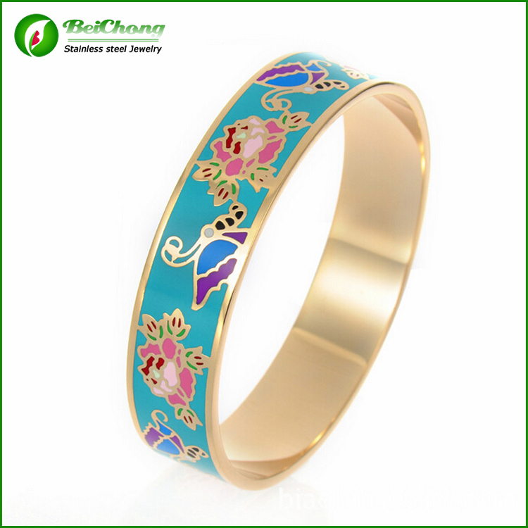 Wholesale 316l Stainless Steel Enamel Gold Bangle Bracelets ...