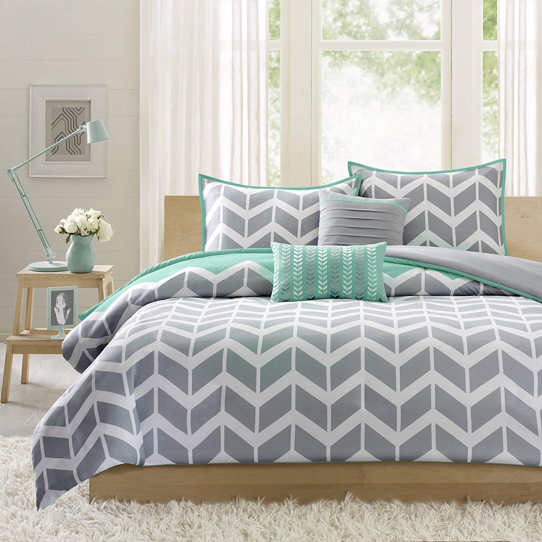 4 Piece Aqua Teal Grey White Twin/Twin XL Duvet Cover Set, Chevron Themed Reversible Bedding Beautiful Crisp Stylish Chic Modern Trendy Stripes Geometric, Polyester