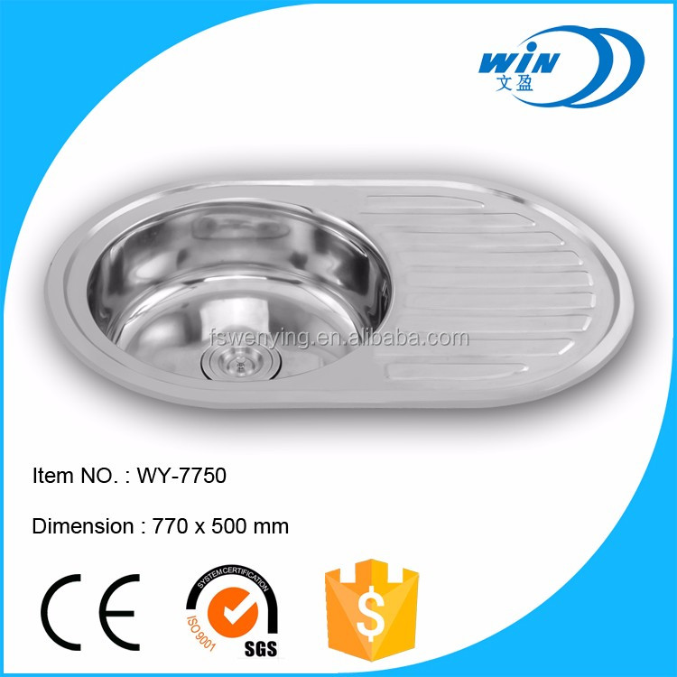 topmount installation type one piece round bowl shape kitchen sink with one drainhole