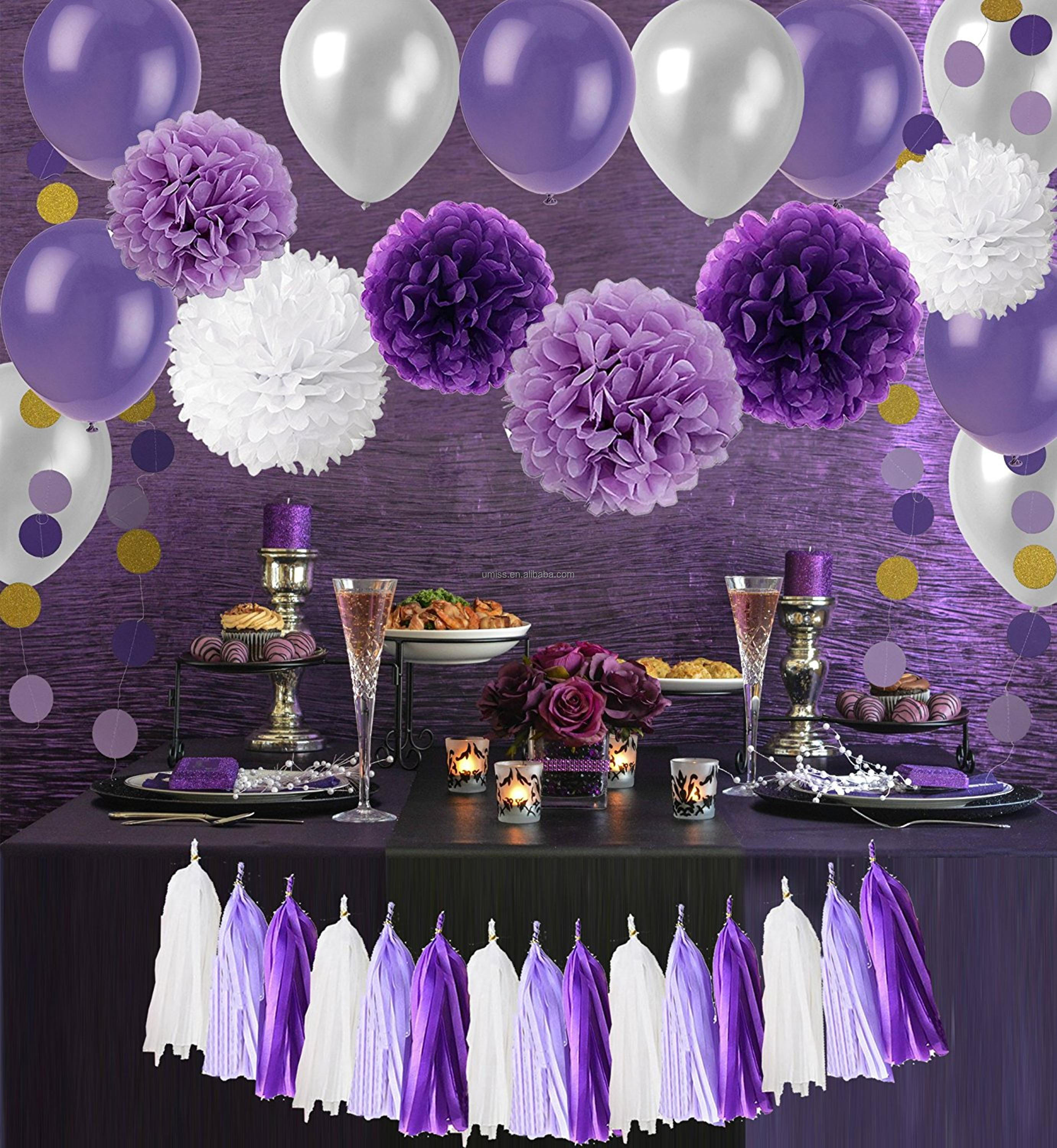 Birthday party backdrop tissue paper pom poms product on alibaba com - Paper Pom Poms With Tissue Paper Tassel Polka Dot Garland Hanging Swirl Decorations And