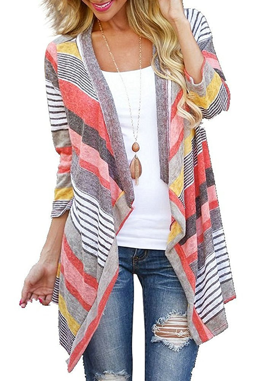a86bc0182d Get Quotations · DEARCASE Women s 3 4 Sleeve Cardigans Striped Printed Open  Front Draped Kimono Loose Cardigan