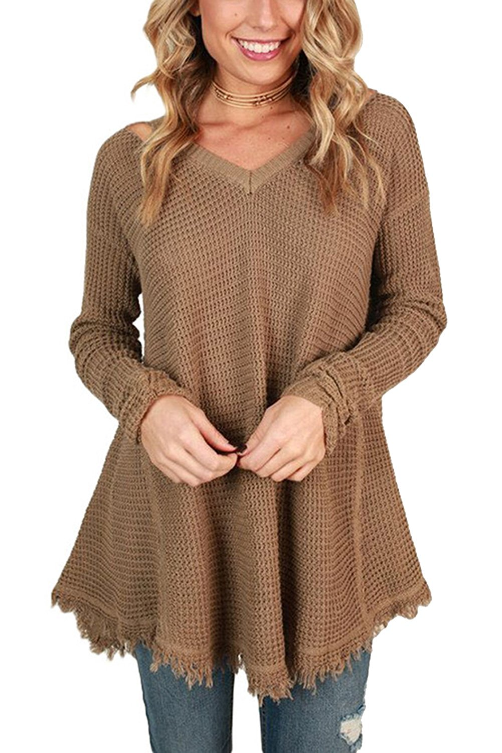 Byoauo Womens Sweaters Pullover Oversized V Neck Cold Shoulder Long Sleeve Top Blouse