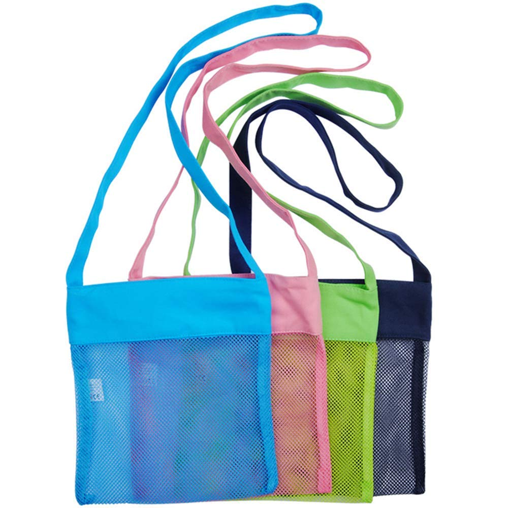 """KiBlue 1 Shell Mesh Beach Breathable Toy Storage, Seashell Bags with Carrying Straps,Blue, Pink, Green, and Black (8.27""""x 9."""