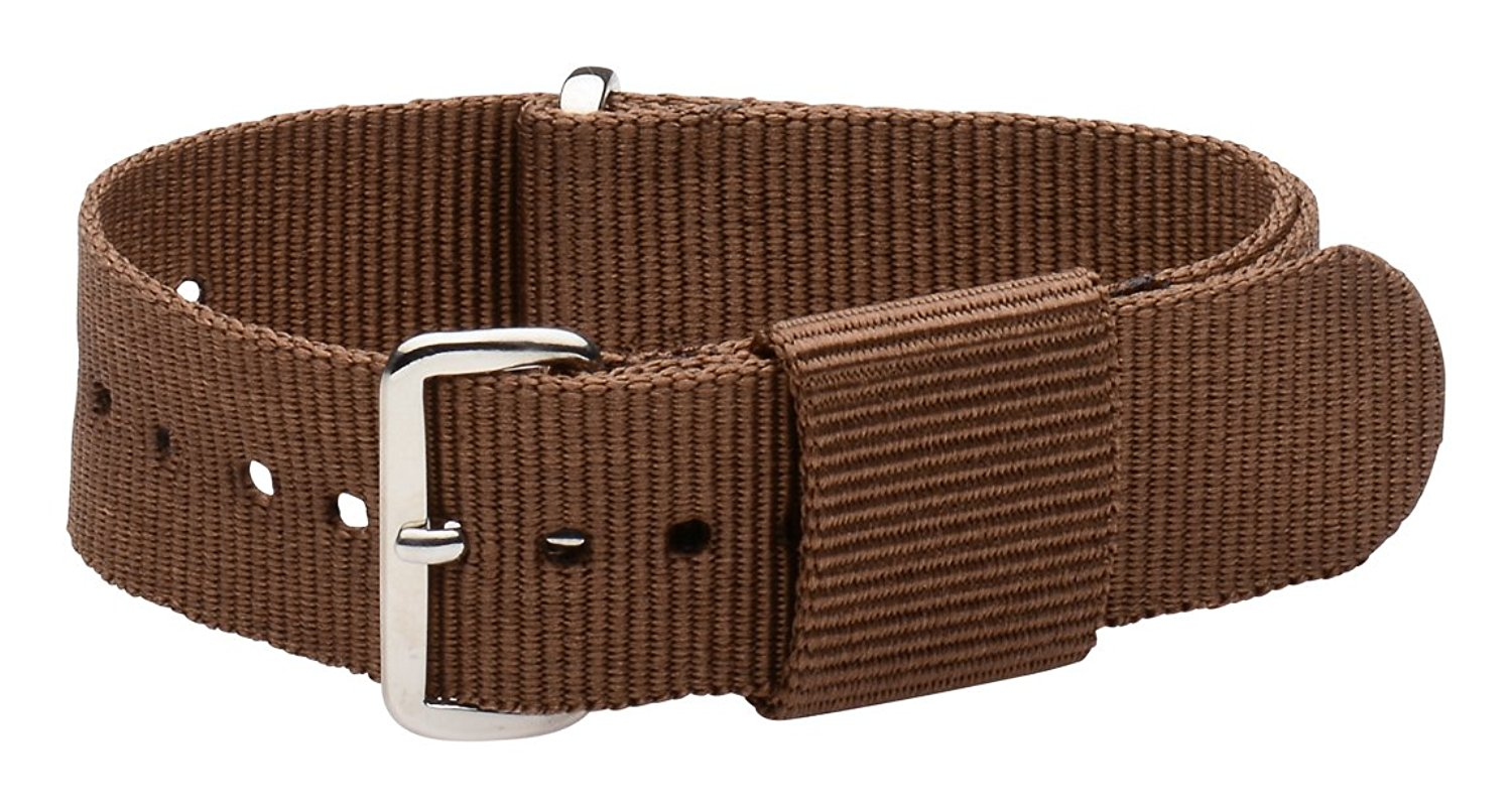 22mm Nato Ss Nylon Loop Solid Brown Interchangeable Replacement Watch Strap Band