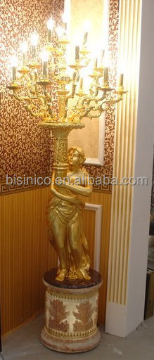 Sculpture Woman Holding Brass Chandelier Floor Lamp In Life Size 24K Gold  Plated BF02 6054