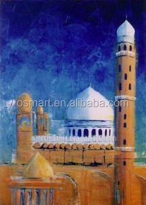 Professional Manufacturer Big Wholesale Handmade Canvas Khana Kaaba Oil Painting for Wall Decoration