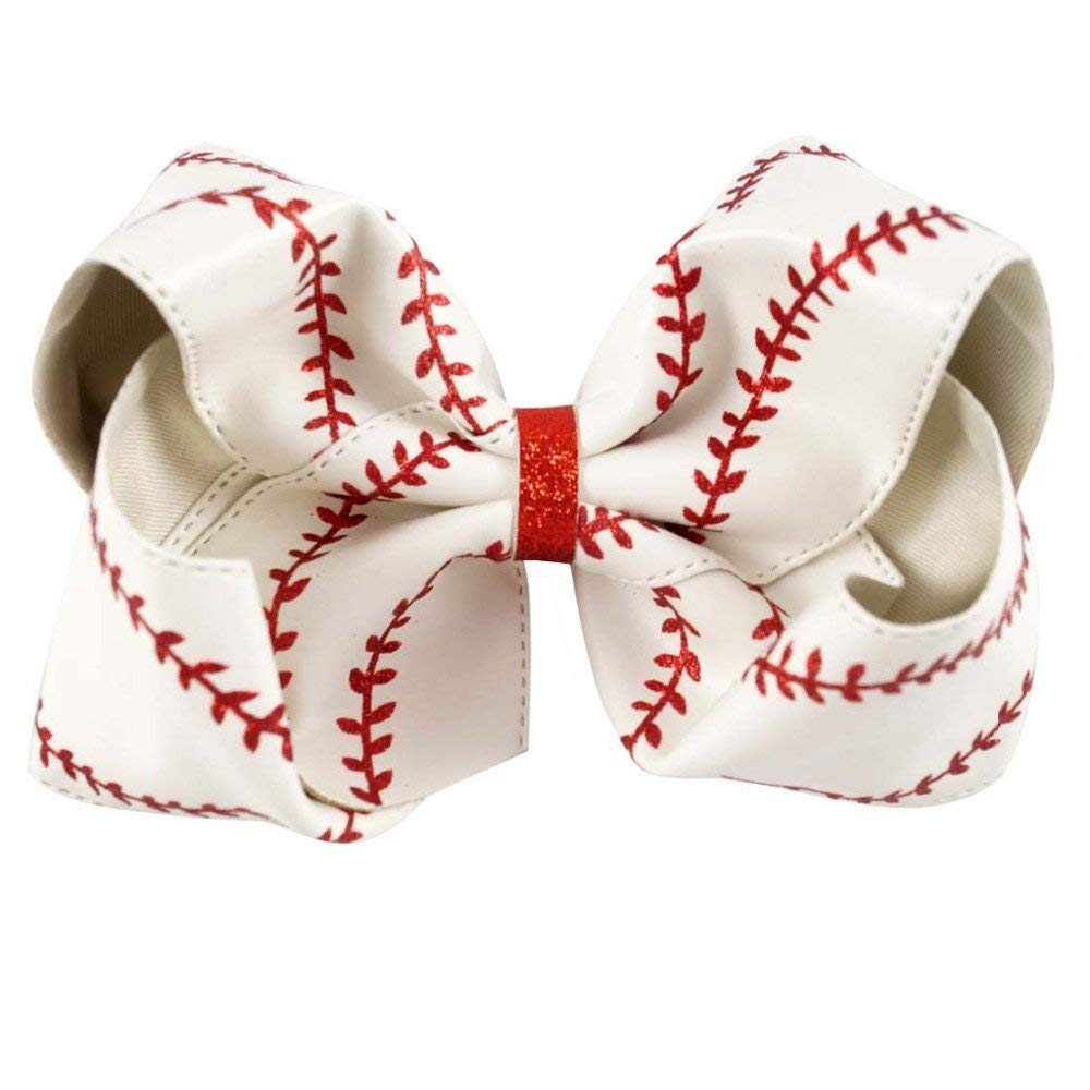 7b60503af22df Get Quotations · Large baseball bow - hairbow - hair bow - boutique bow -