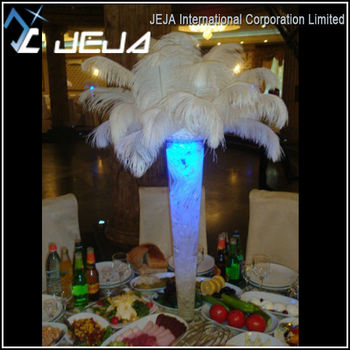 Floral Decoration White Ostrich Feathers Wedding Centerpieces With