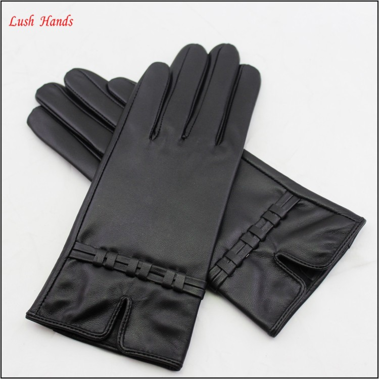 ladies simple winter driving sheepskin fashion star brands leather hand gloves