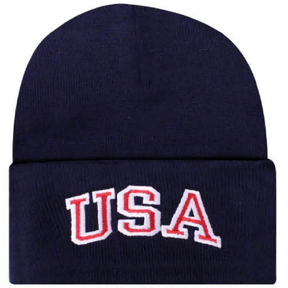 88172fcbbdf Get Quotations · Embroidered USA Patriotic Black White Red American Beanie  Stocking Watch Cap Hat