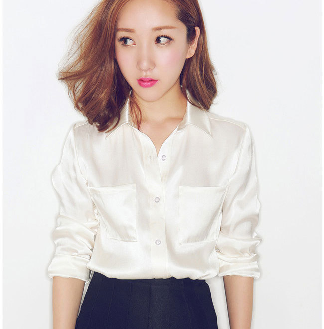 73e09ed1f1c7c Buy S-XXXL women Fashion silk satin blouse button ladies silk blouses shirt  casual office Pearl white long sleeve satin top in Cheap Price on  m.alibaba.com