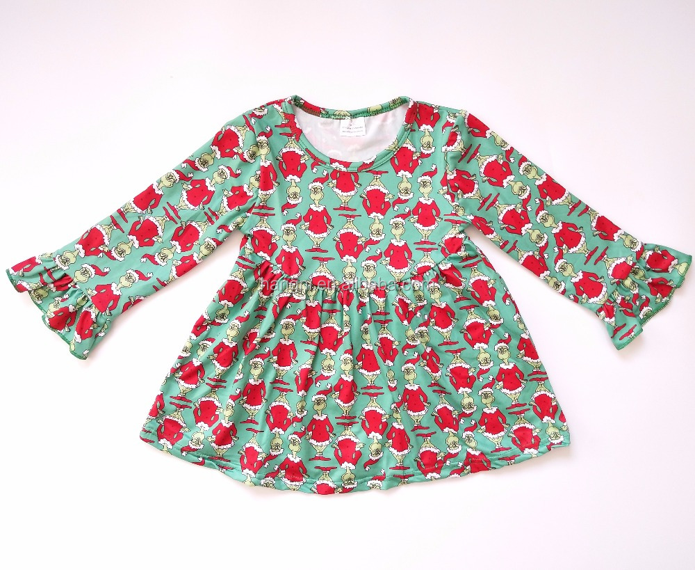 Hot sale cheap kids clothes china fancy frocks for baby girls christmas new design dress long sleeve