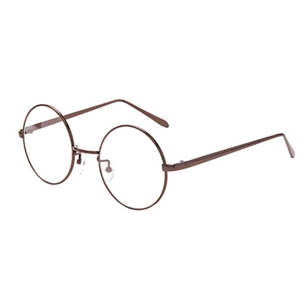 8712a42e08 Get Quotations · Metal Frame Men Women Round Plain Glasses Spectacle  Vintage Eyewear(Bronze)