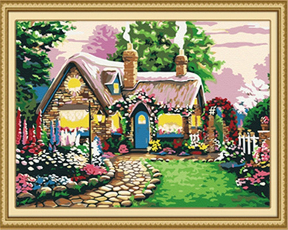 Danmu DIY Oil Painting, Paint by Number Kit-Lovely House