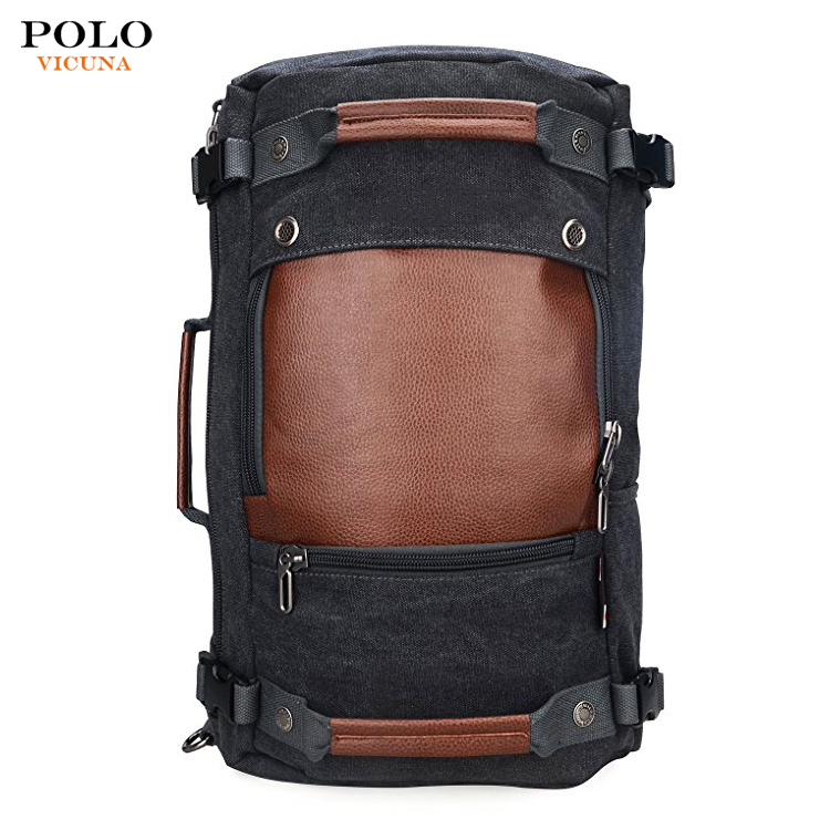 Custom Wholesale Men's Vintage High-quality Sports Tote Shoulder Foldable Duffle Canvas Travel Bag Backpack Organizer for Sale