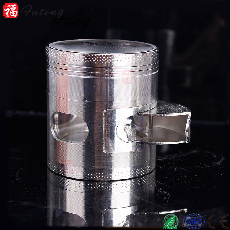 Futeng Zinc Alloy 2.5' 63mm 4 Pieces Fan on Top Wholesale Herb Powder Grinder with Window