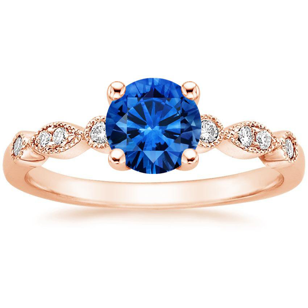 Round Blue Stone Crystal Glass Gemstone Rose Gold Plating S925 Silver Rings