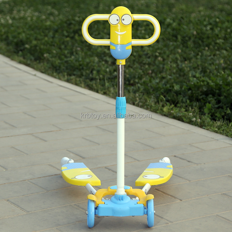 New designed high quality 4 wheel flashing kids kick scooter