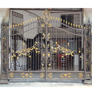 HS-002 cheap price new design wrought door beautiful iron gate