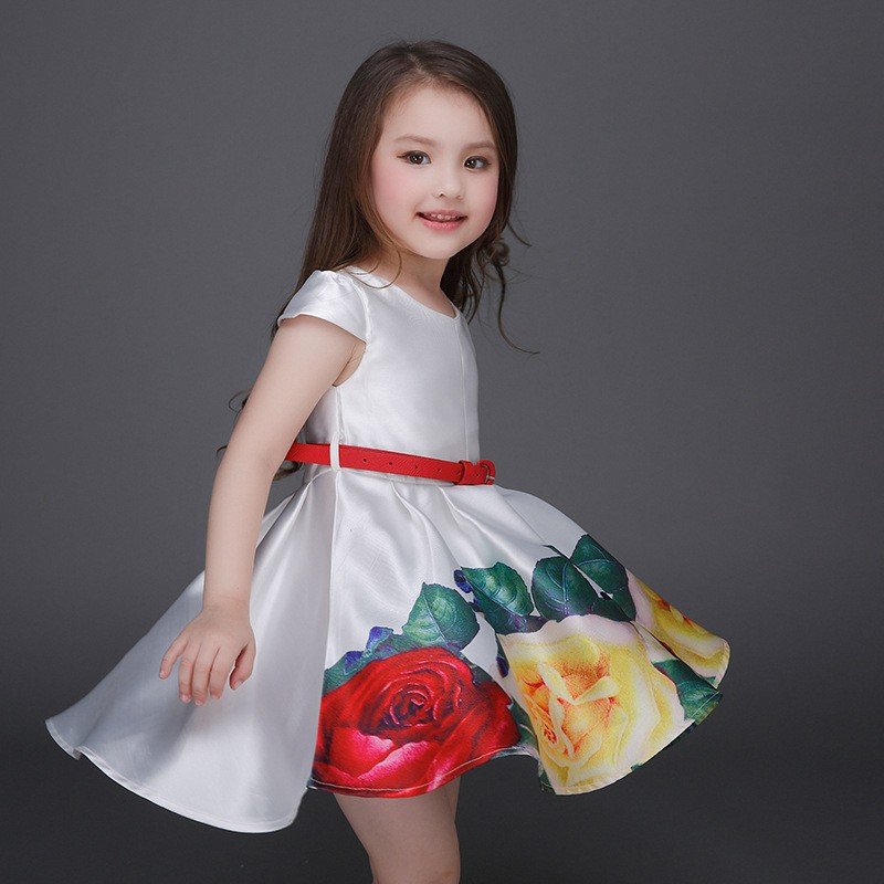 92ee8ba0880f 2018 New Summer Arrival Girl Party Dress Ribbon Flower Baby Party ...