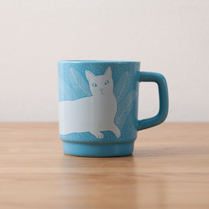 9oz 250ml small blue cat funny mug printing pattern straight custom cups porcelain logo advertising ceramic coffee mug
