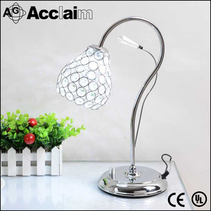 Beautiful hot selling iron table lamp E27 light source crystal bedside reading lamp