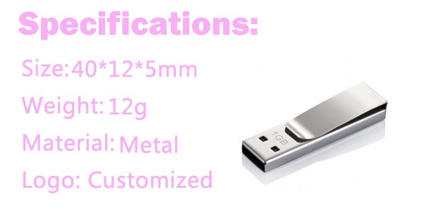 OEM High Quality Metal Book Clip USB Flash Drive 8GB Memory Stick for Business Gift