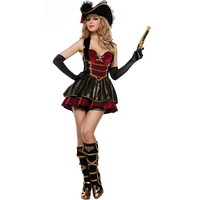 New female adult funny halloween sexy pirate queen plays costume