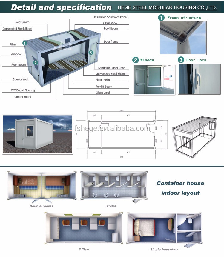 Prefabricated Buildings Luxury High Quality New Fashion Self Containing Container Containers, Home Color / Office / Warehouse