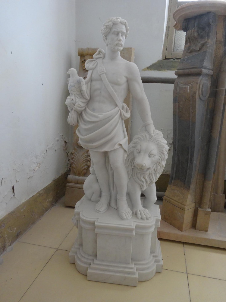 Hand carved white marble Roman soldier sculpture