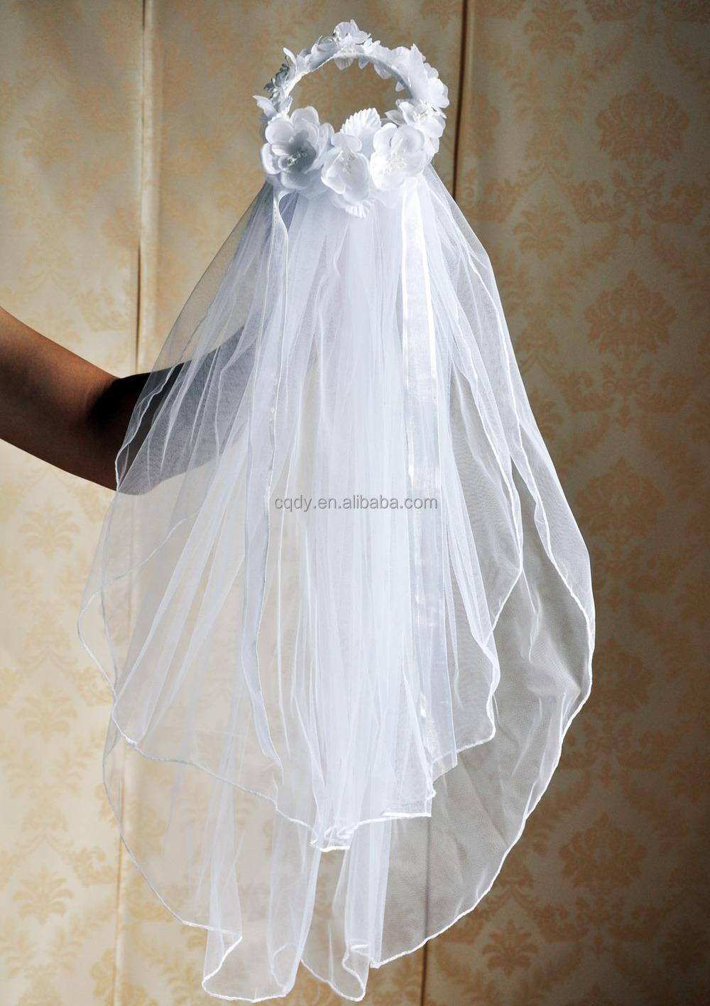 Romantic Flower Girl Wedding Veil With Silk Flower White ...