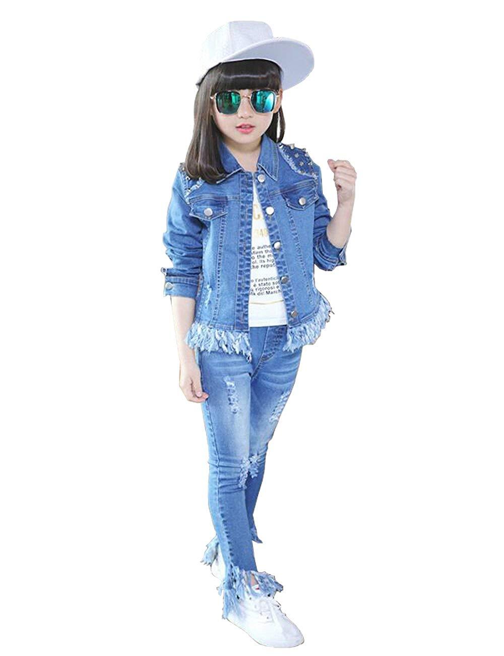 bf6910c4102f7 Get Quotations · Star Flower Big Girls Denim Jacket Jeans Set