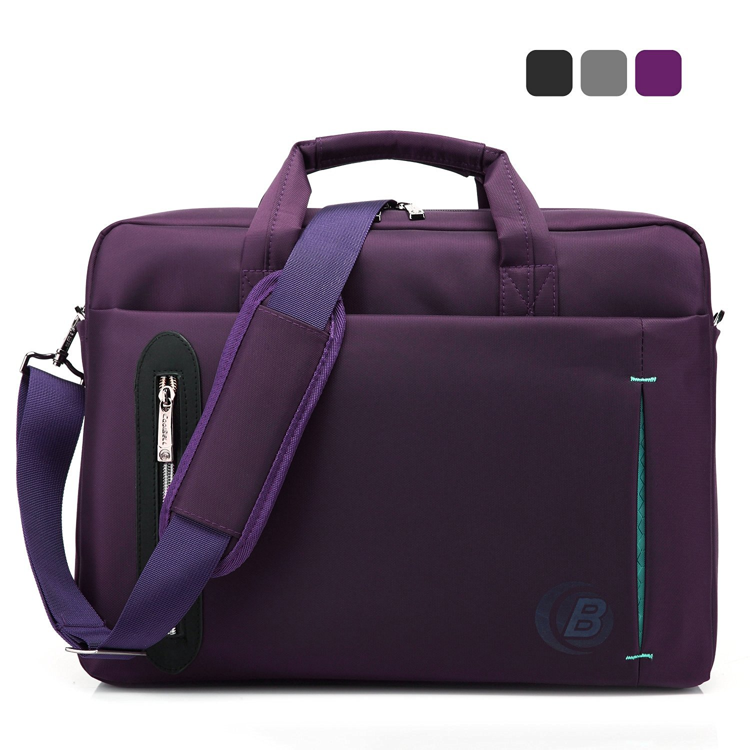 CoolBELL 15.6 inch Laptop Bag With Strap Messenger Shoulder Handle bag Briefcase Nylon Cloth Waterproof Multi-compartment For iPad Pro/Macbook/Asus/Lenovo for Men/ Women/Business(Purple)
