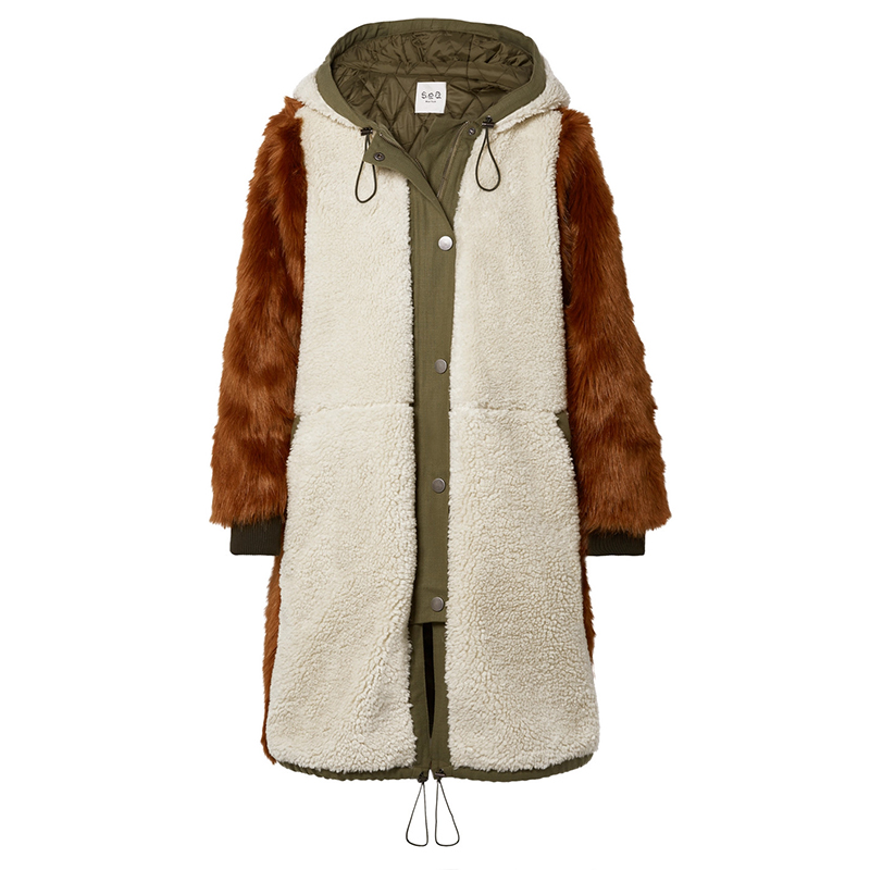 Women Design Canvas-trimmed Paneled Faux Fur And Faux Shearling Coat