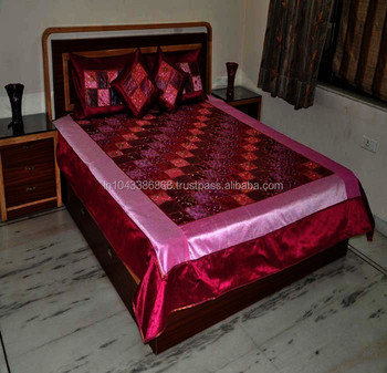 Indian Handmade Patchwork Silk Bedspread With Pillow U0026 Cushion Cover,  Wholesaler Of Silk Bedspreads,