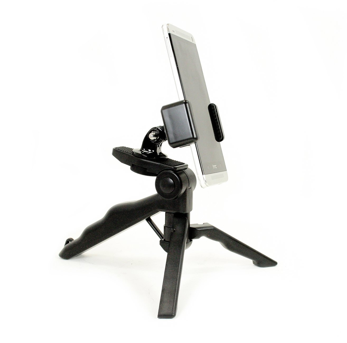 Livestream® - Foldable Tripod with Rotatable Smartphone Clamp. Use for Video Recording, or Live Streaming on Periscope/Meerkat. Operable with Any Phone, or Use with GoPro Camera. Compatible with iPhones, Samsung Galaxy, HTC, etc. Doubles as Hand-Held Mount for Video Stabilization.