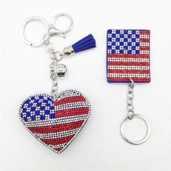 2017 new beautiful fashion crystal diamond key chain heart-shaped American flag keychain for phone bag